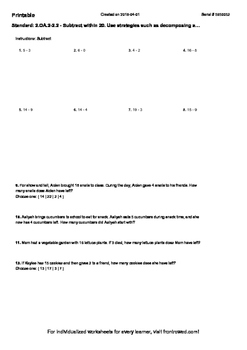 Worksheet for 2.OA.2-2.2 - Subtract within 20. Use strateg