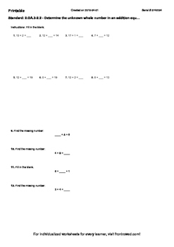 Worksheet for 2.OA.3-2.2 - Determine the unknown whole num