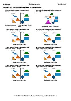 Worksheet for 3.G.1-2.2 - Sort shapes based on their attributes