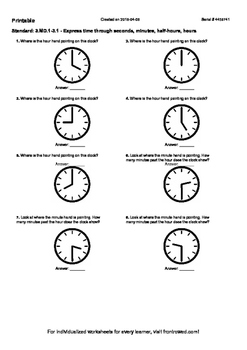 Worksheet for 3.MD.1-3.1 - Express time through seconds, m