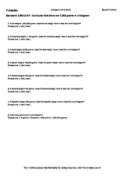 Worksheet for 3.MD.2-2.4 - Conclude that there are 1,000 g