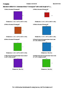 Worksheet for 3.MD.5-1.0 - Understand that a unit square w