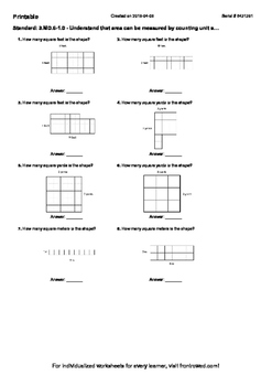 Worksheet for 3.MD.6-1.0 - Understand that area can be mea