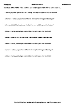 Worksheet for 3.MD.7B-1.2 - Use addition and subtraction w