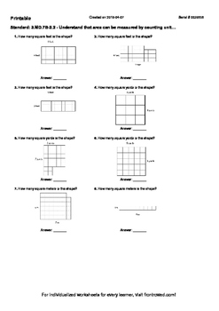Worksheet for 3.MD.7B-2.2 - Understand that area can be me
