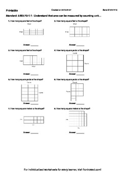 Worksheet for 3.MD.7D-1.1 - Understand that area can be me