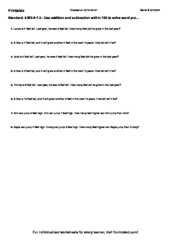 Worksheet for 3.MD.8-1.3 - Use addition and subtraction wi