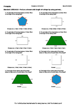 Worksheet for 3.MD.8-2.0 - Find an unknown side length of