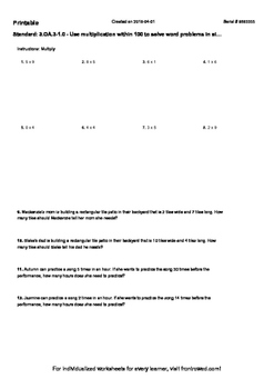 Worksheet for 3.OA.3-1.0 - Use multiplication within 100 t