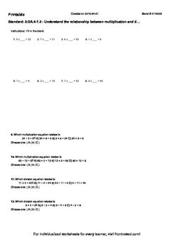 Worksheet for 3.OA.4-1.3 - Understand the relationship bet