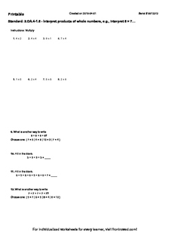 Worksheet for 3.OA.4-1.5 - Interpret products of whole num