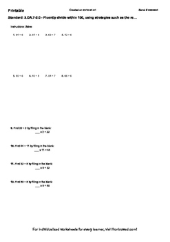 Worksheet for 3.OA.7-2.0 - Fluently divide within 100, usi