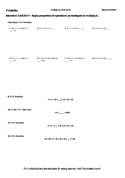 Worksheet for 3.OA.8-2.1 - Apply properties of operations