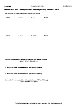 Worksheet for 3.OA.9-1.0 - Identify arithmetic patterns (i