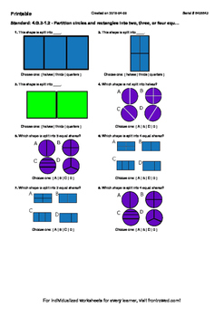 Worksheet for 4.G.3-1.2 - Partition circles and rectangles