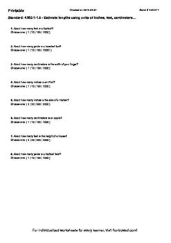 Worksheet for 4.MD.1-1.6 - Estimate lengths using units of