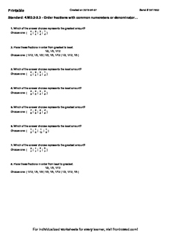 Worksheet for 4.MD.2-2.3 - Order fractions with common num