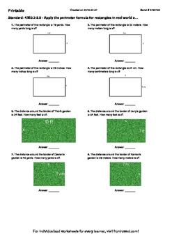 Worksheet for 4.MD.3-2.0 - Apply the perimeter formula for