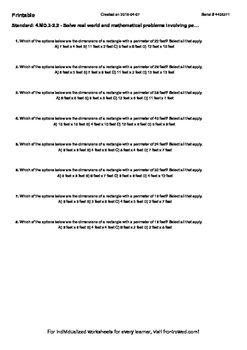 Worksheet for 4.MD.3-2.2 - Solve real world and mathematic