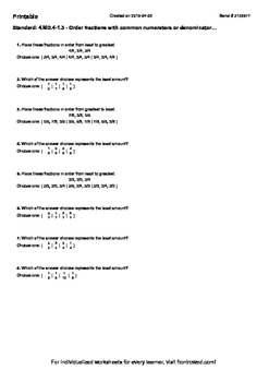 Worksheet for 4.MD.4-1.3 - Order fractions with common num