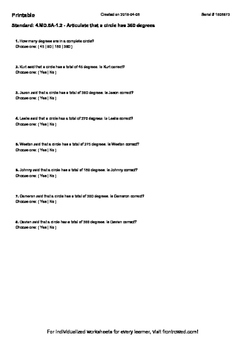 Worksheet for 4.MD.5A-1.2 - Articulate that a circle has 3