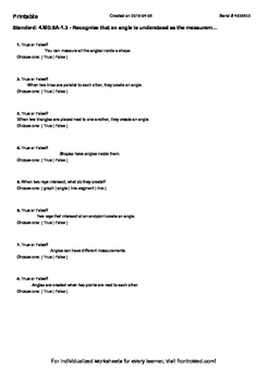 Worksheet for 4.MD.5A-1.3 - Recognize that an angle is und