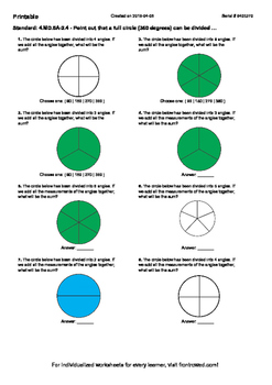 Worksheet for 4.MD.5A-2.4 - Point out that a full circle (