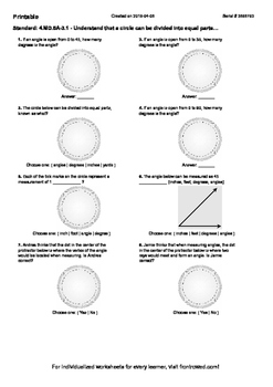 Worksheet for 4.MD.5A-3.1 - Understand that a circle can b