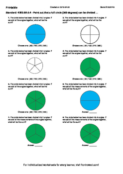 Worksheet for 4.MD.5A-3.4 - Point out that a full circle (