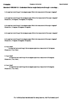 Worksheet for 4.MD.5B-1.0 - Understand that an angle that