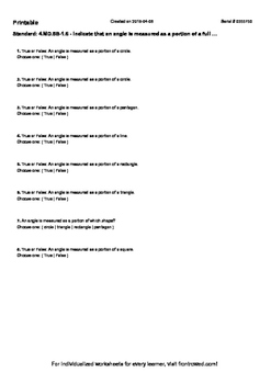 Worksheet for 4.MD.5B-1.6 - Indicate that an angle is meas