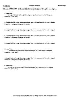 Worksheet for 4.MD.6-1.4 - Understand that an angle that t