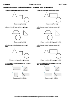 Worksheet for 4.MD.6-2.5 - Sketch and identify a 90-degree