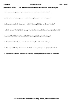 Worksheet for 4.MD.7-3.3 - Use addition and subtraction wi