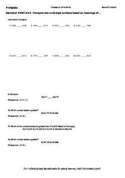 Worksheet for 4.NBT.2-2.0 - Compare two multi-digit number