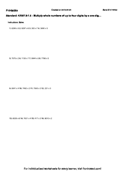 Worksheet for 4.NBT.5-1.6 - Multiply whole numbers of up t