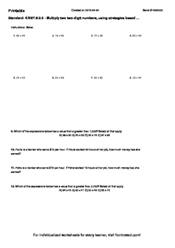 Worksheet for 4.NBT.5-2.0 - Multiply two two-digit numbers