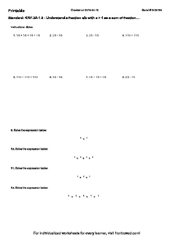 Worksheet for 4.NF.3A-1.0 - Understand a fraction a b with