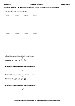 Worksheet for 4.NF.3C-1.2 - Students must know how to conv