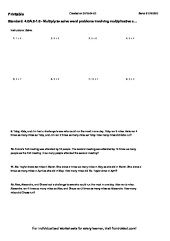 Worksheet for 4.OA.2-1.0 - Multiply to solve word problems