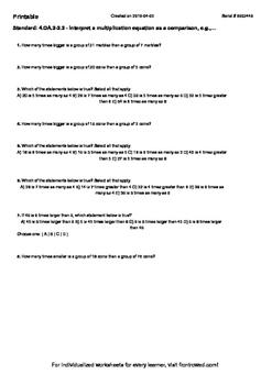 Worksheet for 4.OA.2-2.2 - Interpret a multiplication equa
