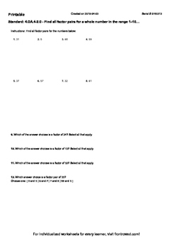 Worksheet for 4.OA.4-2.0 - Find all factor pairs for a who