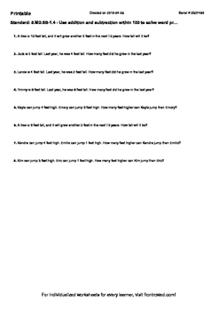 Worksheet for 5.MD.5B-1.4 - Use addition and subtraction w