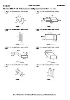 Worksheet for 5.MD.5C-2.0 - Find volumes of solid figures
