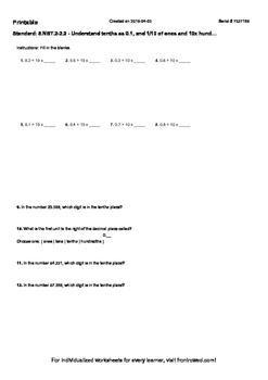Worksheet for 5.NBT.2-2.2 - Understand tenths as 0.1, and