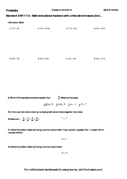 Worksheet for 5.NF.1-1.0 - Add and subtract fractions with