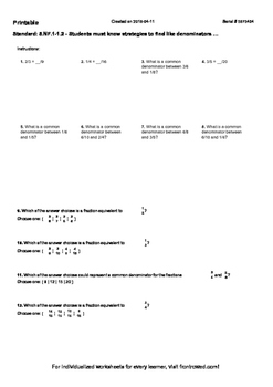 Worksheet for 5.NF.1-1.2 - Students must know strategies t