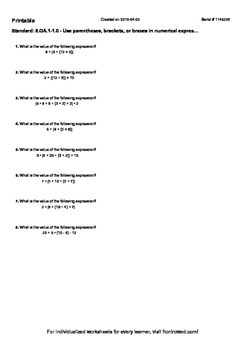 Worksheet for 5.OA.1-1.0 - Use parentheses, brackets, or b