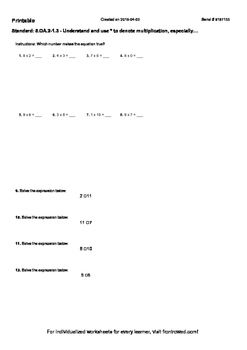 Worksheet for  5.OA.2-1.3 - Understand and use to denote m