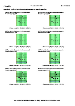 Worksheet for 5.OA.3-1.3 - Plot Ordered pairs on a coordin